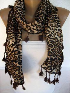 BIG SALE 50 off  Winter Leopard Scarf Rectangle by SmyrnaShop, $7.50