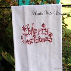 Merry Christmas Tea Towel Machine Embroidered by mishacoledesigns, $13.00