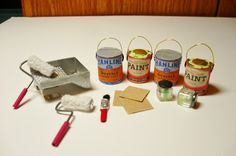 A Small Hearts Desire: Paint Supplies from throw away items. click on pi...