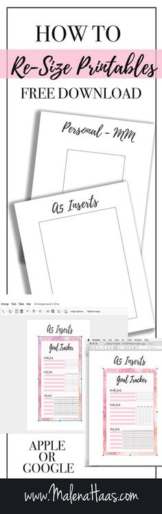 How to resize Printables PLUS Free template