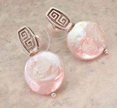 Coin Pearl Earrings Greek Key Sterling Silver Posts Pierced Vintage Upcycled V0701 by cutterstone on Etsy