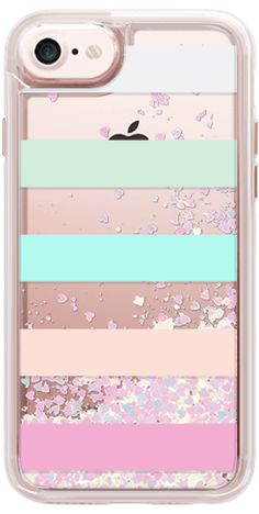 Casetify iPhone 7 Glitter Case - STRIPED - PEACHED by MANGO PARIS #Casetify