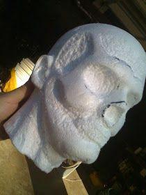 Halloween Hot Sauce: Moans from Moonlit Hill Mortuary: Makin' Styrofoam Zombie Heads