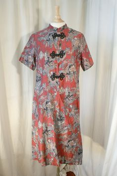Polished cotton house robe/dress with asymmetrical Asian design and Mandarin collar