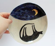 starry night and cat porcelain plate