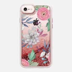 Pink Floral Succulents Feminine Chic Nature Transparent Case 030 - Glitter Case