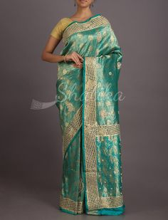Manjula Stone And Cut Work On Bold Gold #Kanchipuram Hand-Work Silk Saree