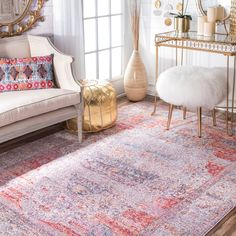 nuLOOM Vintage Floral Medallion Blush Rug (9' x 12') (Blush), Red, Size 9' x 12' (Polyester, Abstract)