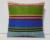 large kilim pillow soft ethnic turkish pillow cover bolster lumbar geometric aztec kilim pillow case couch turkish pillow cover green blue
