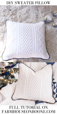 Learn how to make a pillow from a sweater, creating a beautiful and cozy piece of decor for your home. This thrifted project is an easy and inexpensive way to add charm to any room. lernen anfänger video How To Make A Pillow From A Sweater Diy Sewing Projects, Sewing Projects For Beginners, Knitting For Beginners, Sewing Hacks, Sewing Tutorials, Sewing Crafts, Sewing Tips, Craft Tutorials, How To Make Pillows