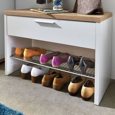 MEUBLE À CHAUSSURES Banc à chaussures blanc-chêne avec 1 tiroir et …