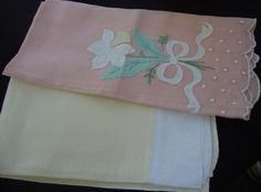 Two Cotton Tea Towels Napkins Yellow Pink Napkins by AnnasDream