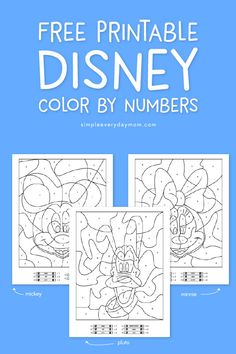 Printable Disney color by numbers. These look great for road trips or summer fun activities for kids.