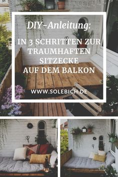 DIY instructions: in 3 steps to the dreamlike seating area on the balcony of le.lolie - DIY instructions: In 3 steps to the dreamlike sitting area on the balcony Photos: le. Garden Tool Shed, Used Cloth Diapers, Apartment Goals, Diy Porch, Garden Yard Ideas, Balcony Garden, Salon Design, Summer Diy, Sitting Area
