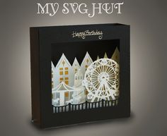 3D SVG PDF Fun Fair theme Box card DIGITAL download