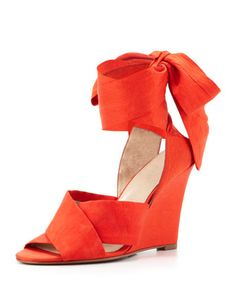 E-Kyoto Ankle-Wrap Wedge, Coral by Elizabeth and James at Neiman Marcus.