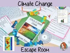 Climate Change Escape Room Game - Climate Change Escape Room Game This is a fun game that is perfect for teaching children about clim - Escape Room, Science Lessons, Lessons For Kids, Effects Of Global Warming, About Climate Change, Minute To Win It, Climate Change Effects, Fashion Room, Classroom Activities