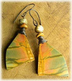 Creek Jasper Earrings Copper Yellow Green Orange by ChrysalisToo, $46.00