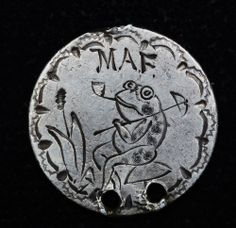 Love Token Engraved MAF / Frog Design on 1876 Liberty Seated Dime Silver 10c.