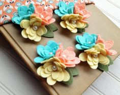 Wool Felt Fabric Flowers - Mini Mum Trios - Mint Julep Collection - Set of 4 with Leaves