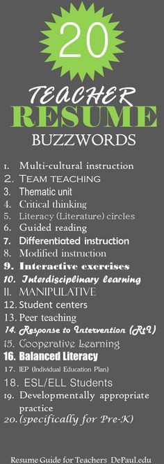Buzzwords for Teacher Resumes! Teacher Resume Tips.