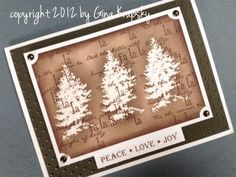 Clear embossing powder and coloring on top Peace, Love, Joy Holiday Card - YouTube