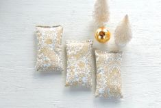 Metallic Gold and White Lavender or Balsam by FrenchRosebudCottage