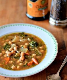 Healthy Green Kitchen Chickpea, Fennel, and Broccoli Rabe Soup Fennel Recipes, Healthy Soup Recipes, Cooking Recipes, Broccoli Rabe Recipe, Broccoli Raab, Veggie Soup, Chickpea Soup, Fennel Soup, Soup And Salad