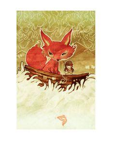 """Fox Boat "" Digital. 2010. #flyokay   Tags: #illustration #whimsical #fantasy #art #kawaii"