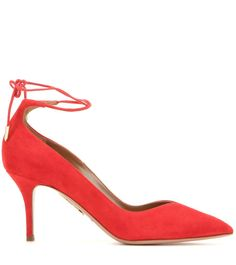 Allure 75 red suede pumps Designer Shoes Online, Designer Heels, Suede Pumps, Luxury Shoes, Aquazzura, Shoe Collection, Stiletto Heels, Fashion Shoes, Ankle Boots