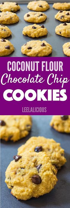 Chocolate chip cookies made with coconut flour and coconut oil, this is gluten free, dairy free, paleo friendly and clean eating.