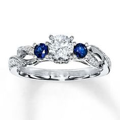 Diamond/Sapphire Ring 1/2 ct tw Round-cut 14K White Gold    I would love it if the sapphires were diamonds