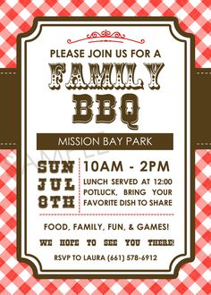 Family BBQ Picnic Family Reunion Western by PocketfulOStationary