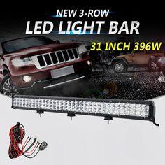 "Partol 31"" 396W 3-Row 6D LED Light Bar CREE Chips Offroad Led Bar Combo Beam Driving Work Light Truck SUV ATV 4x4 4WD 12V 24V"