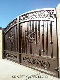 Sunset Gates | Gallery Grill Gate Design, Front Gate Design, Steel Gate Design, House Gate Design, Main Gate Design, Door Gate Design, Fence Design, Garden Design, Metal Driveway Gates