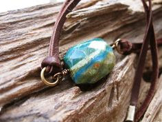 Peruvian Opal leather necklace, boho choker, turquoise blue green gemstone on Etsy, $38.00