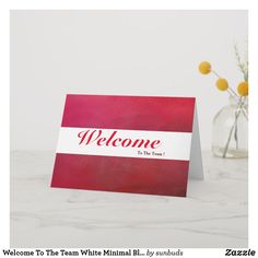 Shop Welcome To The Team White Minimal Blue Badge Card created by sunbuds. Welcome To The Team, Welcome Card, Calligraphy Welcome, Rustic White, White Elephant, Custom Greeting Cards, Thoughtful Gifts, Paper Texture, Minimalism