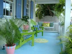 CocosCollections My key west porch Beach Cottage Style, Beach Cottage Decor, Coastal Cottage, Key West Cottage, Key West House, Seaside Decor, Lake Cottage, Coastal Style, Coastal Living