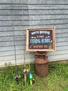 Fishing Buddy Pregnancy Announcement by PersonalizedChalk on Etsy