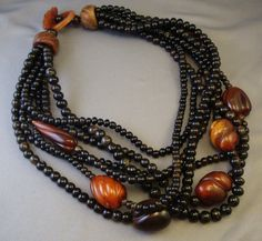 MONIES Black Brown Horn Beaded Necklace Exotic 7 Strand Design