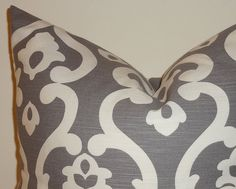 Decorative Pillow Cover Grey & White Scroll by HomeLiving on Etsy, $14.00
