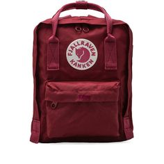 Fjallraven Kanken Mini Backpack Bags (1,480 HNL) ❤ liked on Polyvore featuring bags, backpacks, fillers, backpack, ox red, fjällräven, red bags, handle bag, day pack backpack and zip top bag