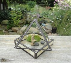 Glass Terrarium, 2 Piece Pyramid and Tray, Home Decor, Indoor Garden Art, Recycled Glass, Container for Diorama, Greenhouse, Display Case