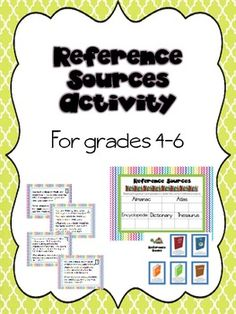 Reference Sources Activity for Grades School Resources, Teaching Resources, Research Skills, Reference Book, Library Lessons, Teacher Pay Teachers, The Book, Activities, Learning