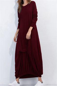 a96fc48deec3 2017 Women Dress Mixi Dresses Plus Size Vestido Long Dresses Casual Party  Loose Solid Long Sleeve O Neck Autumn Caftans 5 Colors