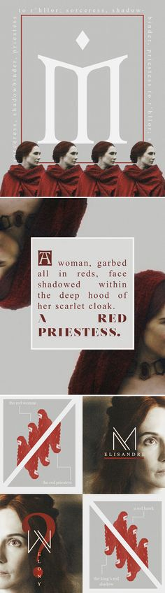 Melisandre: As ever, she wore red head to heel, a long loose gown of flowing silk as bright as fire, with dagged sleeves and deep slashes in the bodies that showed glimpses of a darker blood red fabric beneath. Around her throat was a red gold choker tighter than any maester's chain, ornamented with a single great ruby. Her hair was not the orange or strawberry color of common red-haired men, but a deep burnished copper that shone in the light of the torches. Even her eyes were red… #asoiaf