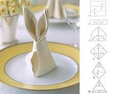idées de pliage des serviettes pour Pâques décoration