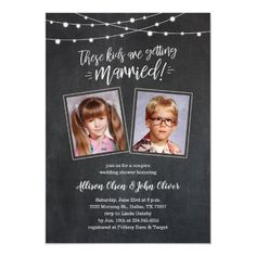 Funny Wedding Photos Cute Old Photos Rehearsal Dinner Invites - Lights - Cute old photo rehearsal dinner invitations with a rustic hand lettered chalkboard design and glowing outdoor string lights. Upload childhood photos of the future bride Couples Wedding Shower Invitations, Invitation Baby Shower, Rehearsal Dinner Invitations, Engagement Party Invitations, Wedding Rehearsal, Wedding Invitation Cards, Rehearsal Dinners, Wedding Couples, Wedding Day