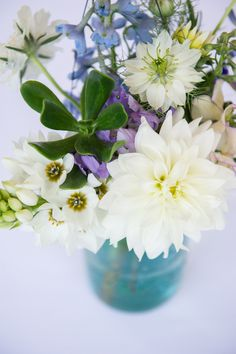 pretty white and blue floral arrangement