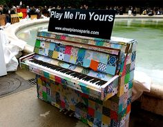 Le Centre Culturel Barbara (Paris, France, 2012)<3 Pianos Peints, Piano Street, Roland Piano, Paris France, Piano Lessons For Beginners, Painted Pianos, Piano Art, Best Piano, Violin Lessons